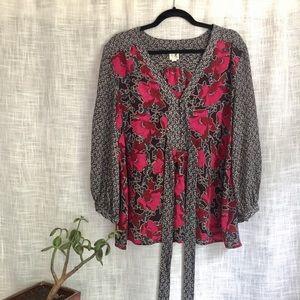Anthropologie 100% Silk Floral Boho Blouse
